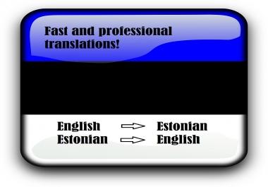 Ma tõlgin 1000 sõna eesti keelest inglise keelde ja vastupidi