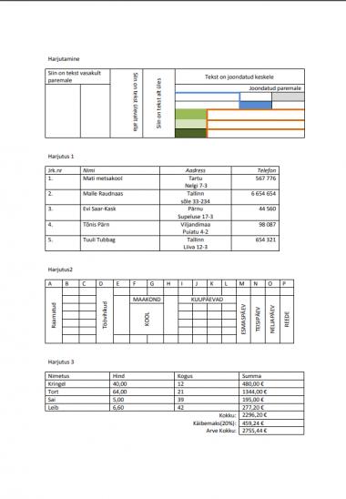 Ma aitan teha arvutis tabeleid näiteks programmis MS Excel või Google´i arvutsutabelid